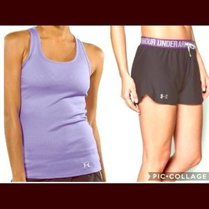 UNDER ARMOUR WOMENS SHORTS TOP OUTFIT LARGE NEW